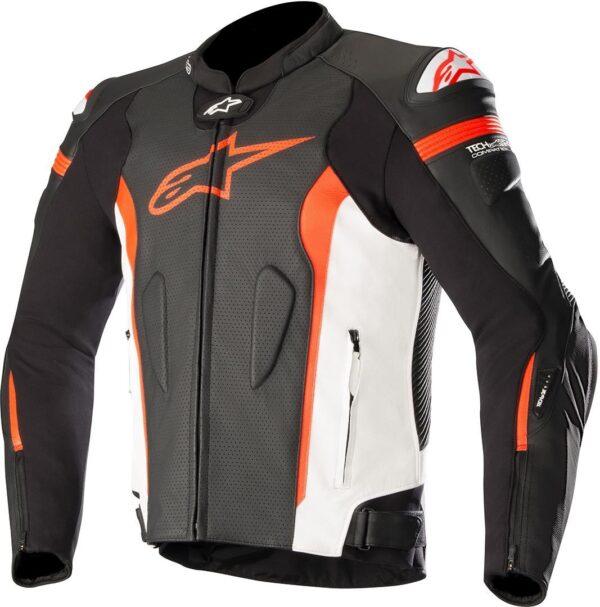 3100118 1230 MISSILE Leather Jacket BlackWhiteRedFluo